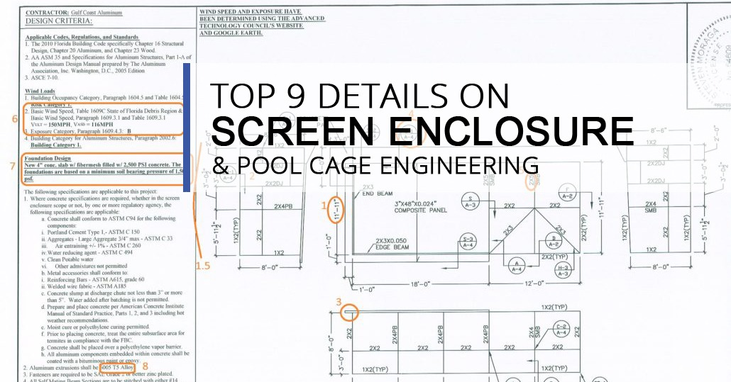 Top 9 details on screen enclosure pool cage engineering for Pool design and engineering