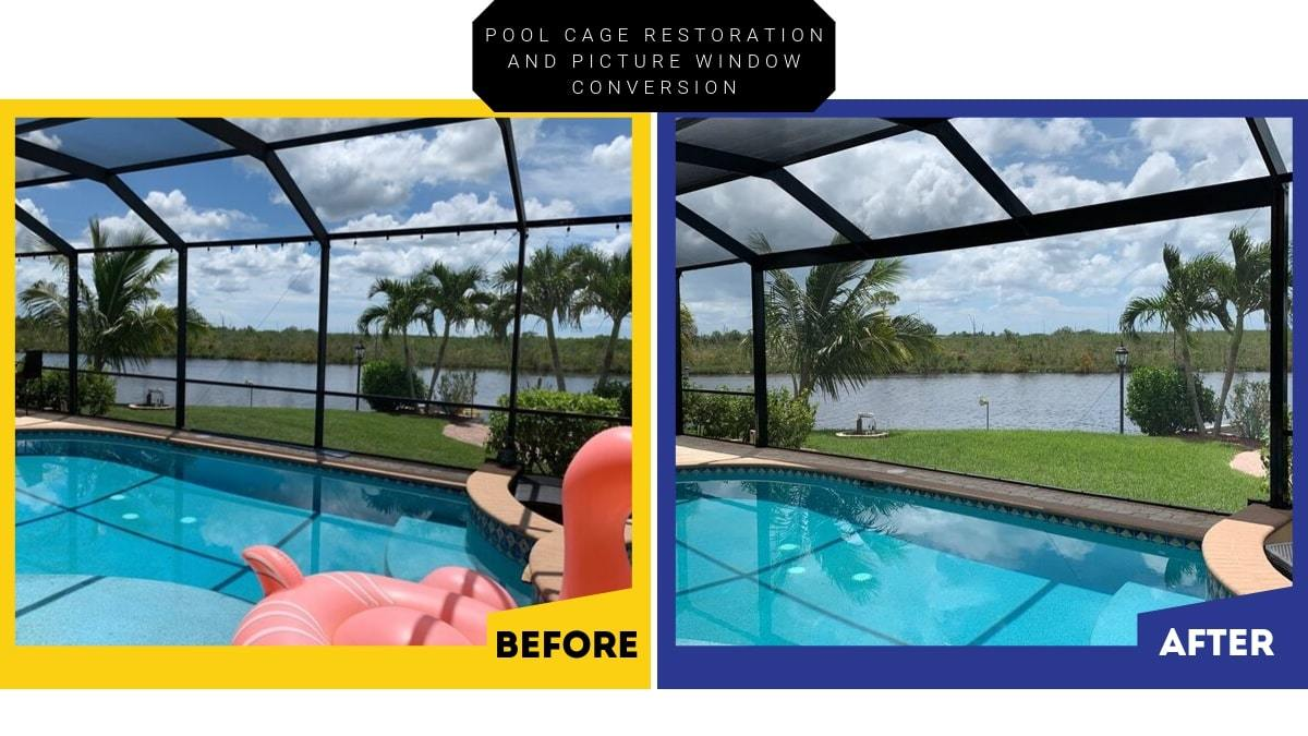 Pool Cage Restoration And Picture Window Conversion In