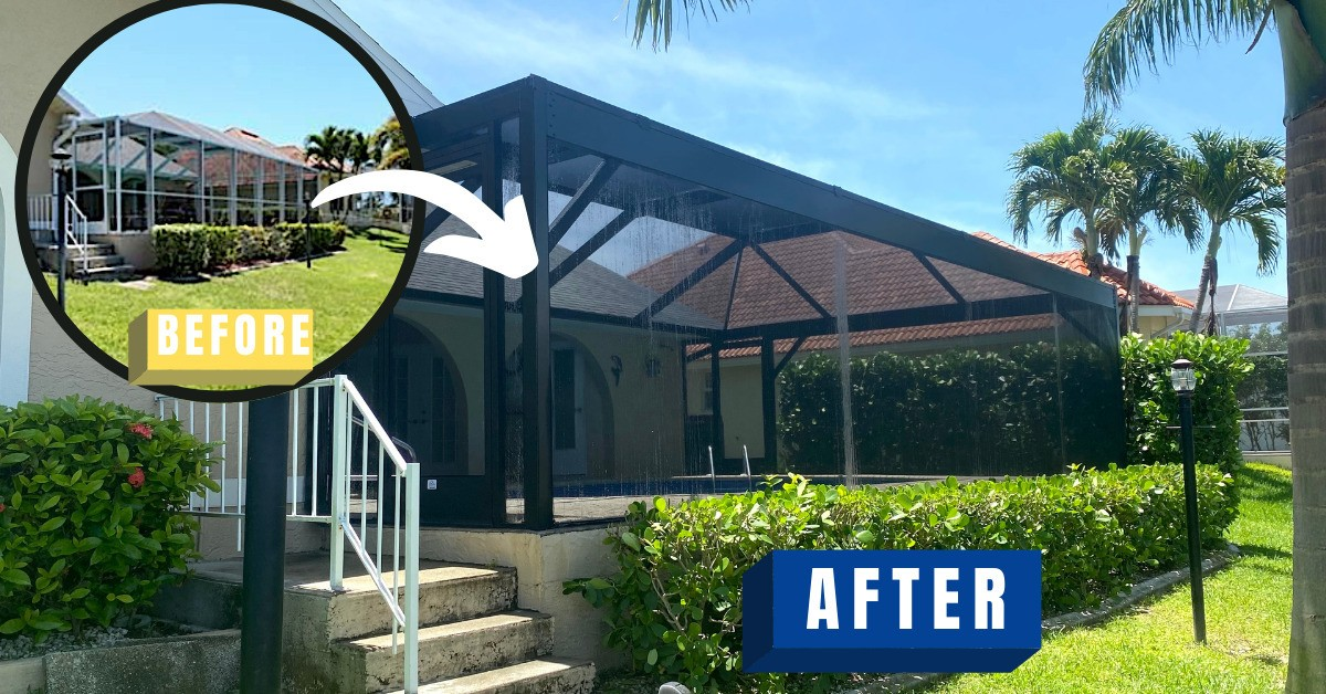 Before and after pool enclosure
